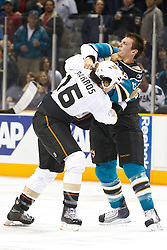 November 9, 2010; San Jose, CA, USA;  Anaheim Ducks right wing George Parros (16) fights with San Jose Sharks left wing Frazer McLaren (68) during the first period at HP Pavilion. Mandatory Credit: Jason O. Watson / US PRESSWIRE