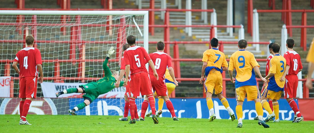 WREXHAM, WALES - Wednesday, August 20, 2008: Wales' goalkeeper Wayne Hennessey is beaten for Romania's winning goal during the UEFA Under 21 European Championship Qualifying Group 10 match at the Racecourse Ground. (Photo by David Tickle/Propaganda)