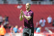 West Ham United midfielder Marko Arnautovic (7) warms up before the Premier League match between Arsenal and West Ham United at the Emirates Stadium, London, England on 22 April 2018. Picture by Bennett Dean.