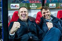 ALKMAAR - 08-12-2016, AZ - FC Zenit, AFAS Stadion, 3-2, AZ trainer John van den Brom, Assistent trainer Dennis Haar.
