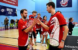 Alex Lane of Bristol Jets and Chris Coles (Capt) of Bristol Jets celebrate their sides win over Surrey Smashers - Photo mandatory by-line: Robbie Stephenson/JMP - 06/02/2017 - BADMINTON - SGS Wise Arena - Bristol, England - Bristol Jets v Surrey Smashers - AJ Bell National Badminton League