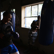Siyakudumisa Vapi, a licensed boxer hoping to make it as a professional, in training at the Hillbrow Boxing Club in Johannesburg, South Africa. Vapi is training for a fight against the third-ranked fighter in the national featherweight division; if he wins it will bring him closer to his objective of challenging for the national title, and being able to make a decent living from boxing. He says boxing pulled him away from the streets and bad company, and gave him discipline.