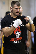 "NOTTINGHAM, ENGLAND, SEPTEMBER 26, 2012: Stipe Miocic attends the open work-out sessions ahead of ""UFC on Fuel TV 5: Struve vs. Miocic"" inside Gym Combat in Nottingham, United Kingdom on Wednesday, September 26, 2012 © Martin McNeil"