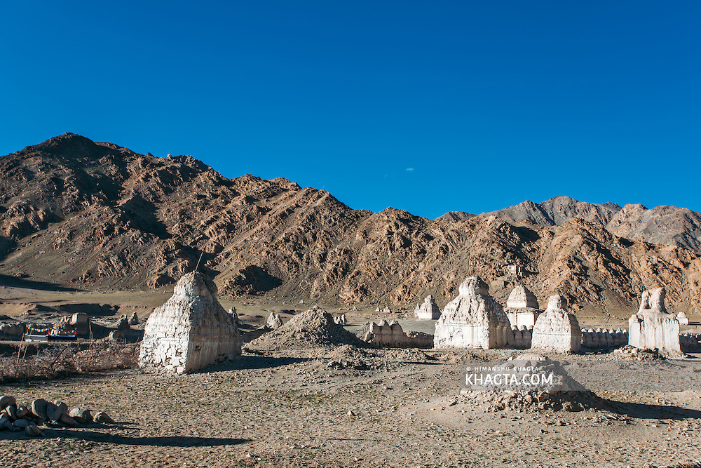 Chortens built in a dry region at Shey, which is the ancient capital of Ladakh