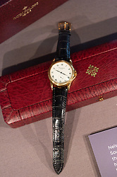 © Licensed to London News Pictures. 07/02/2019. London, UK. A Patek Philippe wristwatch worn Nelson Mandela is showing as part of the Mandela: The Exhibition takes visitors on a personal journey through the life of the world's most iconic freedom fighter and political leader. Photo credit: Ray Tang/LNP