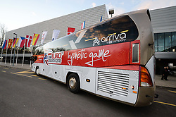 Official Bus of EHF Euro 2018 before handball match between National teams of Germany and Denmark on Day 4 in Main Round of Men's EHF EURO 2018, on January 21, 2018 in Arena Varazdin, Varazdin, Croatia. Photo by Mario Horvat / Sportida