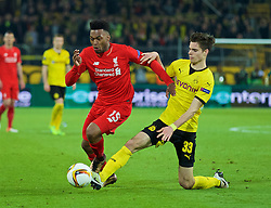 DORTMUND, GERMANY - Thursday, April 7, 2016: Liverpool's Daniel Sturridge in action against Borussia Dortmund's Julian Weigl during the UEFA Europa League Quarter-Final 1st Leg match at Westfalenstadion. (Pic by David Rawcliffe/Propaganda)