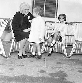 At Aras an Uachtarain, Sinead, Bean de Valera and President de Valera help Prince Rainier and Princess Grace with looking after Prince Albert and Princess Caroline. .15.06.1961