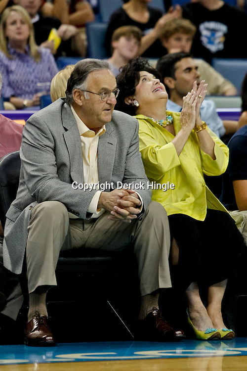 October 9, 2010; New Orleans, LA, USA; New Orleans Hornets minority owner Gary Chouest watches courtside during the first quarter of a preseason game against the Memphis Grizzlies at the New Orleans Arena. Mandatory Credit: Derick E. Hingle