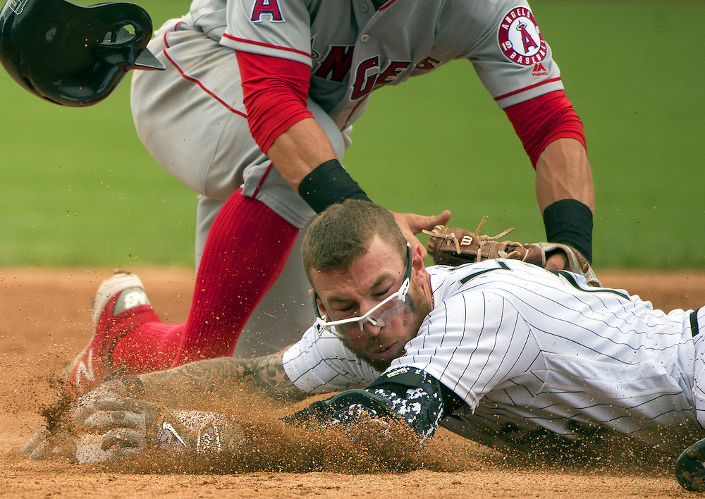 CHICAGO - APRIL 21:  Brett Lawrie #15 of the Chicago White Sox slides safely into second base with a double in the second inning against the Los Angeles Angels of Anaheim on April 21, 2016 at U.S. Cellular Field in Chicago, Illinois.  The Angels defeated the White Sox 3-2.  (Photo by Ron Vesely)   Subject: Brett Lawrie
