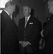 17/05/1961<br /> 05/17/1961<br /> 17 May 1961<br /> New U.S. Ambassador Edward Grant Stockdale presents his credentials at Aras an Uachtarain. Picture shows (l-r): President Eamon de Valera, Ambassador Stockdale and Minister for External Affairs, Frank Aiken chatting after the ceremony.