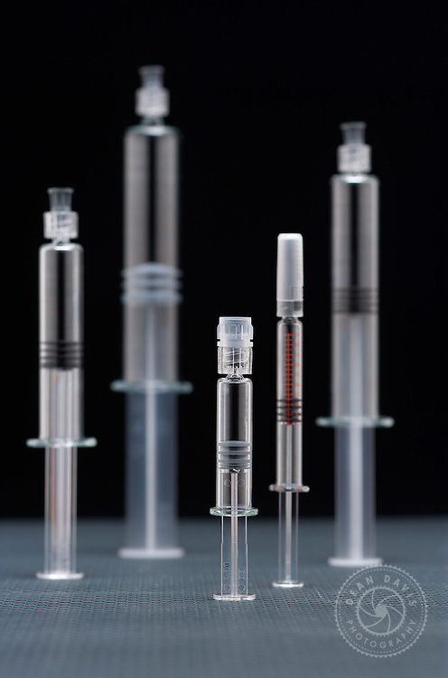 "Image by Dean Davis: I made this image of syringes for Hollister Stier Laboratories. I treated the syringes like architecture and made this little ""cityscape"". I made the image here in my studio"