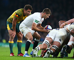 November 24, 2018 - London, England, United Kingdom - London, UK, 24 November, 2018.Richard Wigglesworth of England put into scrum whilst Australia's Will Genia watch.during Quilter International between England  and Australia at Twickenham stadium , London, England on 24 Nov 2018. (Credit Image: © Action Foto Sport/NurPhoto via ZUMA Press)