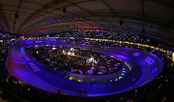 Spectators light up the velopark with their mobile phones during day five of the Six Day Series at Lee Valley Velopark, London