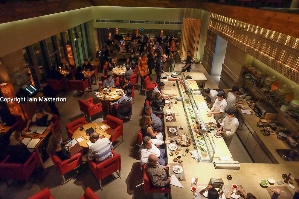 Interior of Zuma Japanese restaurant at DIFC in Dubai united Arab Emirates