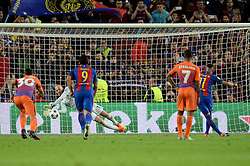 Neymar of Barcelona has his penalty saved by Wilfredo Caballero of Manchester City - Mandatory by-line: Dougie Allward/JMP - 19/10/2016 - FOOTBALL - Camp Nou - Barcelona, Catalonia - FC Barcelona v Manchester City - UEFA Champions League