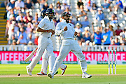 Wicket - Virat Kohli (captain) of India celebrates the wicket of Alastair Cook of England during second day of the Specsavers International Test Match 2018 match between England and India at Edgbaston, Birmingham, United Kingdom on 2 August 2018. Picture by Graham Hunt.