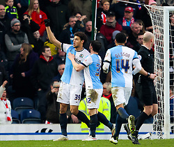 Rudy Gestede of Blackburn Rovers celebrates after scoring his sides second goal. 2-1 -  Photo mandatory by-line: Matt McNulty/JMP - Mobile: 07966 386802 - 14/02/2015 - SPORT - Football - Blackburn - Ewood Park - Blackburn Rovers v Stoke City - FA Cup - Fifth Round