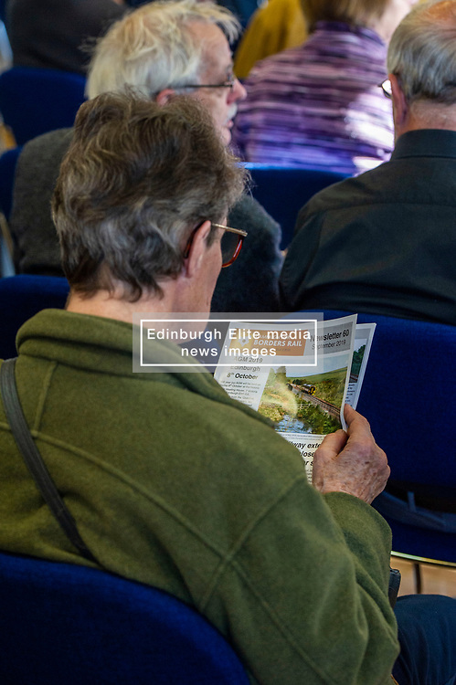 Pictured:<br /> The Campaign for Borders Rail 20th Anniversary Annual<br /> General Meeting. Opening address from Christine Grahame MSP, a regular user of the service, gave the opening address<br /> <br /> Ger Harley   EEm 8 October 2019