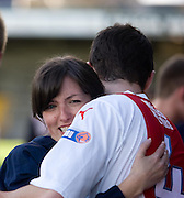 Hug for Stephen O'Donnell from physio Karen Gibson - Ross County v Dundee - IRN BRU Scottish Football League First Division at Victoria Park<br /> <br /> <br /> <br /> http://www.davidyoungphoto.co.uk