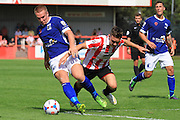 David Mellor and Billy Waters during the Vanarama National League match between Cheltenham Town and Barrow at Whaddon Road, Cheltenham, England on 22 August 2015. Photo by Antony Thompson.