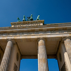 18-05-2019 GER: Berlin is the capital and largest city of Germany, Berlin<br /> <br /> The Brandenburger Tor (Brandenburg Gate) is the most important gate in Berlin, built in neoclassical style in the period 1788-1791 after the model of the Propylee (the entrance to the Acropolis). [1] The gate is on Pariser Platz in the Mitte district and forms the end of the Unter den Linden boulevard. On the west side of the gate, the road continues as Straße des 17. Juni.