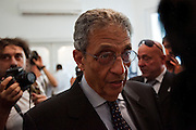 Egyptian presidential candidate Amr Moussa speaks with reporters May 16, 2012 prior to the start of a press conference at his campign headquarters in the Dokki district of Cairo, Egypt. Moussa is currently the front-runner in the upcoming Egyptian presidential elections that will take place across the country May 23-24, 2012. (Photo by Scott Nelson)