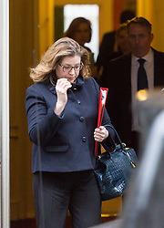 London - Secretary of State for International Development Penny Mordaunt leaves the weekly meeting of the UK cabinet at Downing Street. January 23 2018.