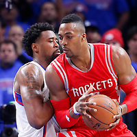 14 May 2015: Houston Rockets center Dwight Howard (12) posts up Los Angeles Clippers center DeAndre Jordan (6) during the Houston Rockets 119-107 victory over the Los Angeles Clippers, in game 6 of the Western Conference semifinals, at the Staples Center, Los Angeles, California, USA.