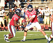 Samford quarterback Andy Summerlin  hands the ball off to Samford running back Fabian Truss during the game against Wofford at Seibert Stadium in Homewood, Ala., Saturday, Oct 13, 2012. Samford defeats Wofford 24-17 in Overtime. (Marvin Gentry)
