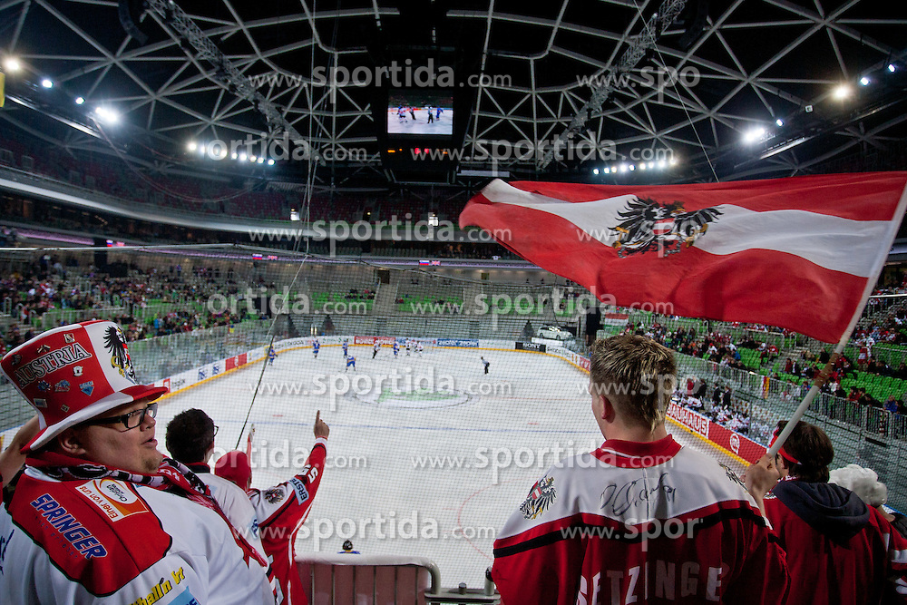 Fans of Austria during ice-hockey match bewteen Ukraine and Austria at IIHF World Championship DIV. I Group A Slovenia 2012, on April 15, 2012 at SRC Stozice, Ljubljana, Slovenia. (Photo By Matic Klansek Velej / Sportida.com)