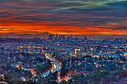 Los Angeles, CA, Skyline, Fiery, Sunrise, Sunset, Traffic Streaking on Freeway, HDR High dynamic range imaging (HDRI or HDR)