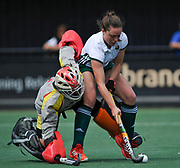Canterbury's Grace Balsdon is challenged by the Complutense keeper Ana Calvo in the shoot out during the 5/6 play-off at the EHCC 2017 at Den Bosch HC, The Netherlands, 5th June 2017