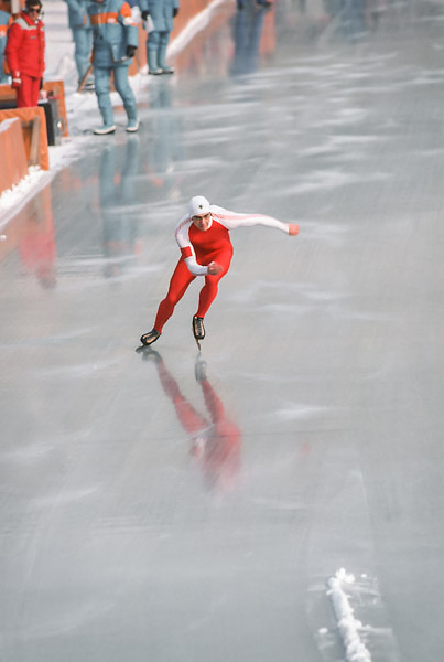 SARAJEVO, YUGOSLAVIA -  FEBRUARY 16:  Gaetan Boucher (CAN) skates in the 1500m event of the Men's Speed Skating competition of the 1984 Winter Olympics on February 16, 1984 at the Zetra Ice Rink in Sarajevo, Yugoslavia.  Boucher won three medals in this Olympics, including gold in the 1500m. (Photo by David Madison/Getty Images) *** Local Caption *** Gaetan Boucher