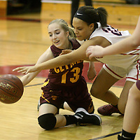 Clymer's Becca King and Southwestern's Diamond Fedrick battle for a loose ball during first quarter action at Southwestern 12-8-15 photo by Mark L. Anderson