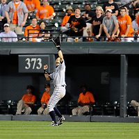 09 June 2009:  Seattle Mariners right fielder Ichiro Suzuki (51) makes a catch on a fly ball off the bat of Baltimore Orioles first baseman Aubrey Huff in the 4th inning at Camden Yards in Baltimore, MD.  The Orioles defeated the Mariners 3-1.  ****For Editorial Use Only****