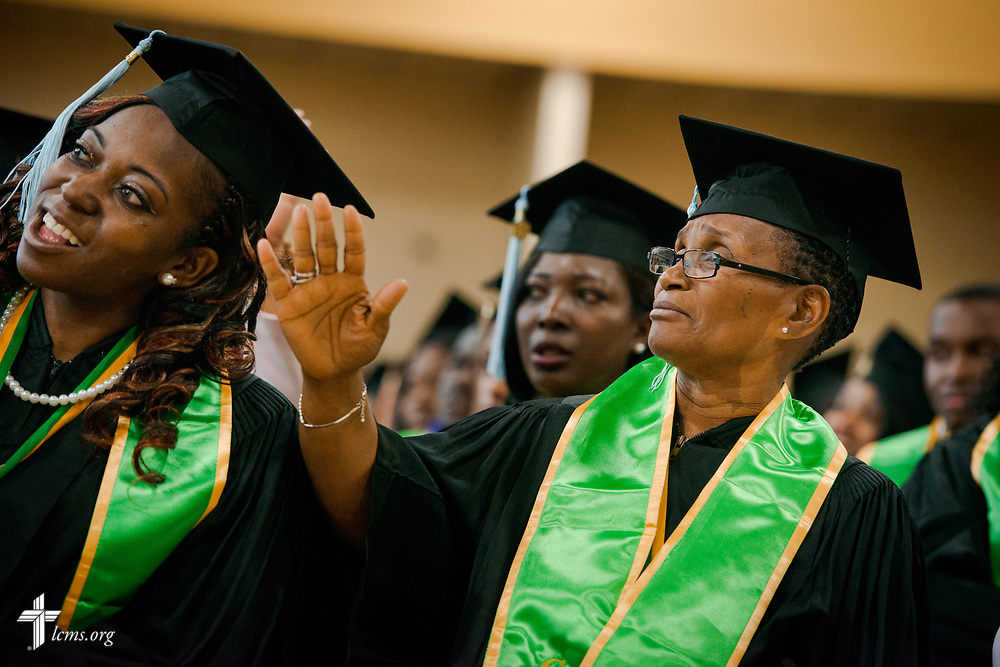 Graduates listen to the choir during the 92nd and final Commencement Exercises on Saturday, April 28, 2018, in the Julius and Mary Jenkins Center at Concordia College Alabama in Selma, Ala. LCMS Communications/Erik M. Lunsford