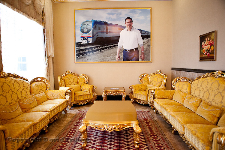 Large photographs of President Gurbanguly Berdymukhamedov grace the lobbies of every hotel at the Avaza resort. Caspian Sea.