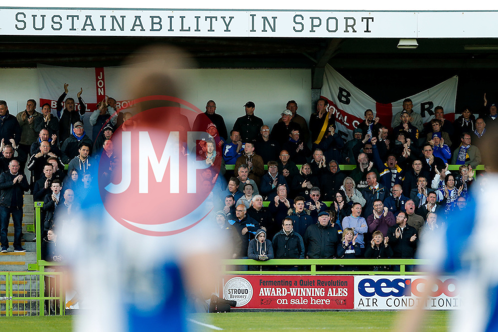 Bristol Rovers fans cheer their side onto the pitch - Photo mandatory by-line: Rogan Thomson/JMP - 07966 386802 - 29/04/2015 - SPORT - FOOTBALL - Nailsworth, England - The New Lawn - Forest Green Rovers v Bristol Rovers - Vanarama Conference Premier - Playoff Semi Final 1st Leg.
