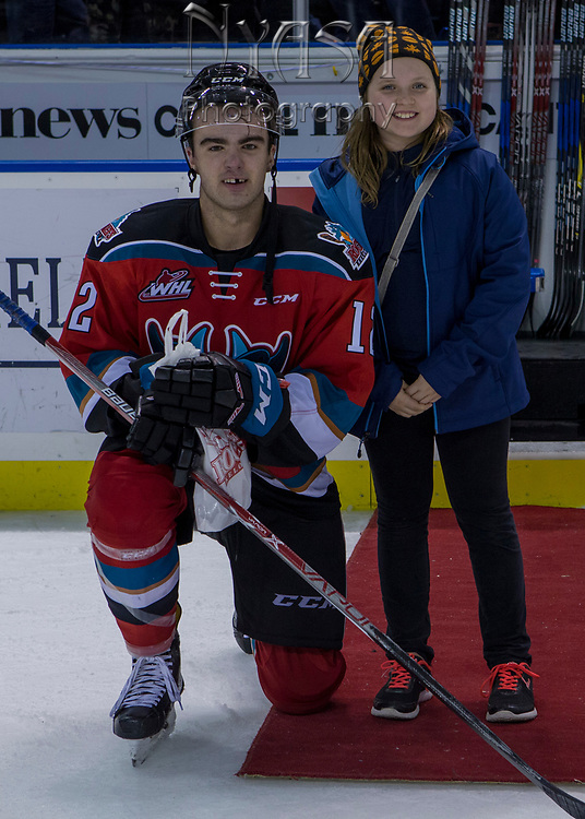 KELOWNA, CANADA - OCTOBER 27:  Third Star of the Game Erik Gardiner #12 of the Kelowna Rockets at the Kelowna Rockets game on October 27, 2017 at Prospera Place in Kelowna, British Columbia, Canada.  (Photo By Cindy Rogers/Nyasa Photography,  *** Local Caption ***