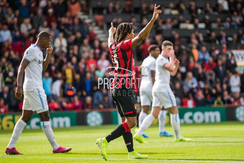 Nathan Ake (Bournemouth) celebrates the potential goal from Joshua King (Bournemouth) as they await the decision from Andrew Madley (Video Assistant Referee) during the Premier League match between Bournemouth and West Ham United at the Vitality Stadium, Bournemouth, England on 28 September 2019.