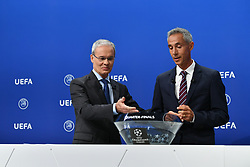 NYON, SWITZERLAND - Friday, July 10, 2020: UEFA Deputy General Secretary Giorgio Marchetti (L) and former Juventus and Borussia Dortmund player Paulo Sousa during the UEFA Champions League and UEFA Europa League 2019/20 draws for the Quarter-final, Semi-final and Final at the UEFA headquarters, The House of European Football. (Photo Handout/UEFA)
