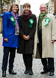 Pictured: Kirsten Robb, Greens candidate for Central Scotland, Caroline Lucas MP and John Wilson, Greens canidate for Cenyra Scotland<br /> <br /> As part of her visit to Scotland to support Greens candidates in the Scottish election, Green MP Caroline Lucas joined Scottish Greens colleagues Maggie Chapman, Greens co-convener, Mark Ruskell, candidate for Mid Scotland and Fife, Kirsten Robb, candidate for Central Scotland and John Wilson, candidate for Central Scotland, to meet anti-fracking campaigners in Falkirk <br /> <br /> Ger Harley | EEm 29 April 2016