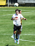 Waikato's Rory Turner and Wellington's Luke Rowe compete for the ball. ASB Premiership Football - Team Wellington v Waikato FC, David Farrington Park, Wellington, New Zealand on Saturday 26 January 2013. Photo: Justin Arthur / photosport.co.nz
