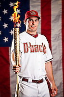 Paul Goldschmidt poses for a photo shoot at Chase Field in Phoenix, Arizona on July 3, 2012.  (Photo by Jonathan Willey/Arizona Diamondbacks)