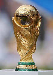 A general view of the official world cup trophy during the FIFA World Cup Final at the Luzhniki Stadium, Moscow.