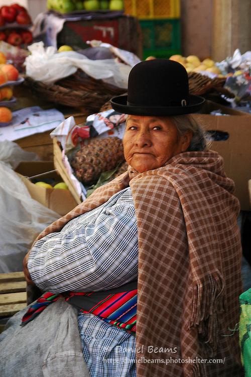 Market and street scene in La Paz, Bolivia