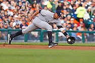 May 10, 2010: New York Yankees' Alex Rodriguez (13) bobbles a infield hit by Detroit Tigers' Miguel Cabrera (24) during the MLB baseball game between the New York Yankees and Detroit Tigers at  Comerica Park in Detroit, Michigan.