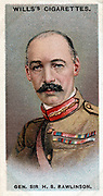 Henry Seymour Rawlinson, 1st Baron Rawlinson (1864-1925) English general. Commander of 4th Army on the Somme (1916). Broke Hindenburg line near Amiens 1918. Chromolithograph card 1917.
