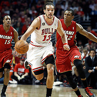 18 May 2011: Miami Heat shooting guard Mike Miller (13) brings the ball upcourt on a fastbreak during the Miami Heat 85-75 victory over the Chicago Bulls, during game 2 of the Eastern Conference finals at the United Center, Chicago, Illinois, USA.